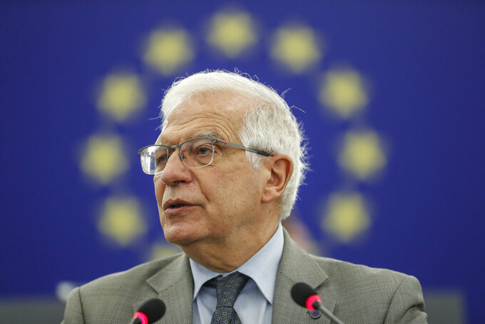 Josep Borrell Fontelles vice president of the European Commission in charge of coordinating the external action of the European Union, delivers his speech about the Systematic repression in Belarus and its consequences for European security following abductions from an EU civilian plane intercepted by Belarusian authorities. Strasbourg eastern France, Tuesday 8 june , 2021. (Jean-François Badias / Pool via AP)