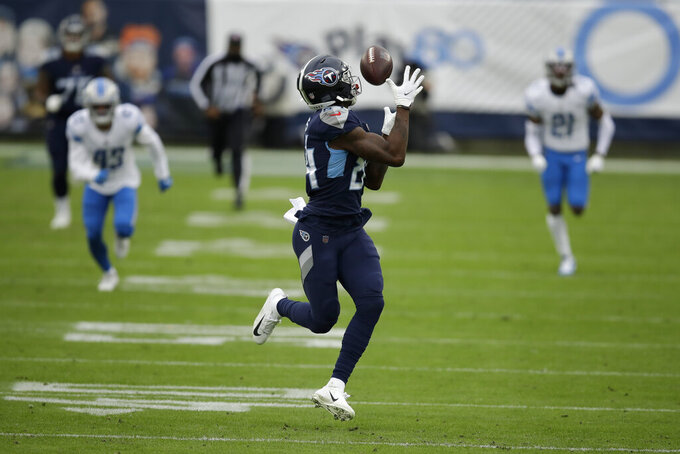 Tennessee Titans wide receiver Corey Davis catches a touchdown pass against the Detroit Lions during the first half of an NFL football game Sunday, Dec. 20, 2020, in Nashville, N.C. (AP Photo/Ben Margot)