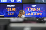 A currency trader walks by the screens showing the Korea Composite Stock Price Index (KOSPI), right, and the foreign exchange rate at the foreign exchange dealing room in Seoul, South Korea, Monday, July 12, 2021. Asian stock markets rose Monday after Wall Street hit a high despite jitters about the spread of the coronavirus's delta variant as investors looked ahead to U.S. earnings reports. (AP Photo/Lee Jin-man)