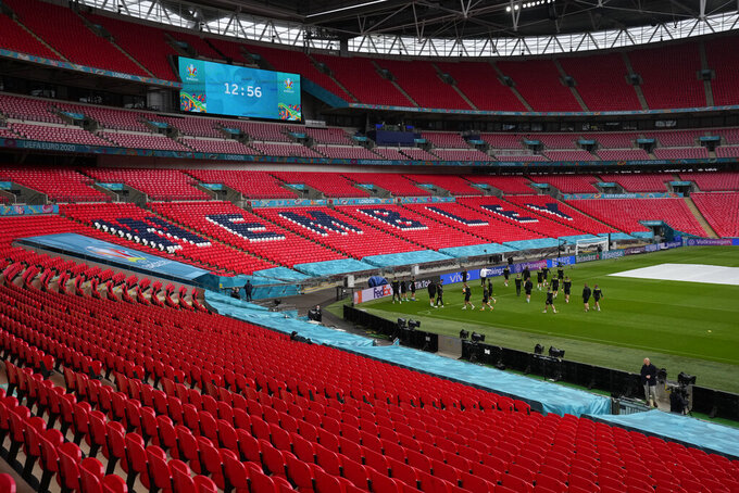 The Czech Republic squad take part in a team training session at Wembley stadium in London, Monday, June 21, 2021, the day before the Euro 2020 soccer championship group D match between England and Czech Republic. (AP Photo/Matt Dunham, Pool)
