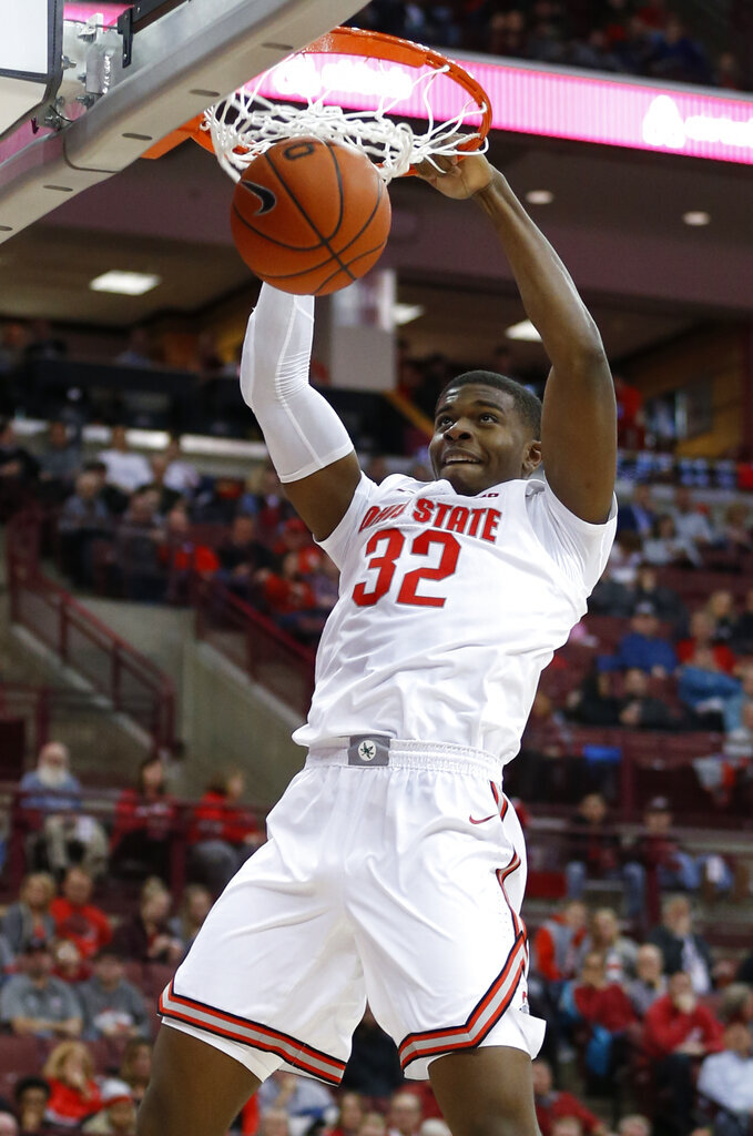 Ohio State's E.J. Liddell dunks the ball against Southeast Missouri State during the second half of an NCAA college basketball game Tuesday, Dec. 17, 2019, in Columbus, Ohio. Ohio State defeated Southeast Missouri State 80-48. (AP Photo/Jay LaPrete)