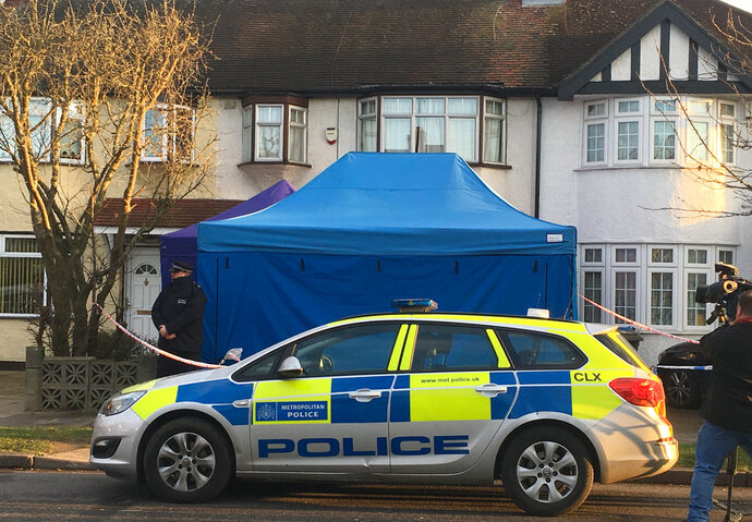 Police activity at a residential address in southwest London, Tuesday March 13, 2018, after the unexplained death of a Russian businessman associated with a prominent critic of the Kremlin. Police confirmed they are treating the death as unexplained and have put counterterrorism detectives in charge of the case. (AP Photo / Eva Ryan)