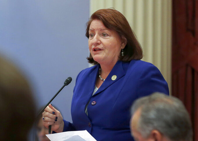 FILE - In this Sept. 12, 2019, file photo, California state Senate President Pro Tem Toni Atkins of San Diego speaks on the floor of the Senate in Sacramento, Calif. Democrats in the California Senate have proposed $3.4 billion in new spending to combat the state's drought. The proposal would equal all of the state's combined spending during the previous drought, according to the independent Legislative Analyst's Office. Atkins said the state needs to take advantage of a surprise state surplus and billions of dollars in new federal funding to prepare for drought. The most recent drought lasted about five years and ended in 2016. (AP Photo/Rich Pedroncelli, File)