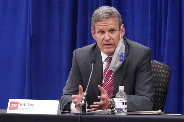 "FILE - Gov. Bill Lee speaks during the Tennessee Higher Education Commission session of the state budget hearings Tuesday, Nov. 10, 2020, in Nashville, Tenn.  A prominent voucher group's outreach efforts to families of students ""caused nothing but confusion"" while Tennessee attempted to enact a program that would have allowed parents to use tax dollars to pay for private school tuition. According to emails detailing the implementation efforts, officials were clashing with the American Federation for Children as it rushed to get the voucher program up and running.  (AP Photo/Mark Humphrey)"
