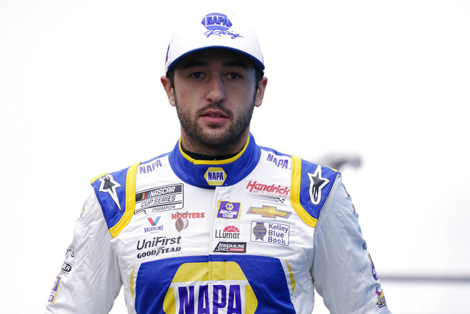 Chase Elliott at a NASCAR Cup Series auto race, Sunday, July 18, 2021, in Loudon, N.H. (AP Photo/Charles Krupa)