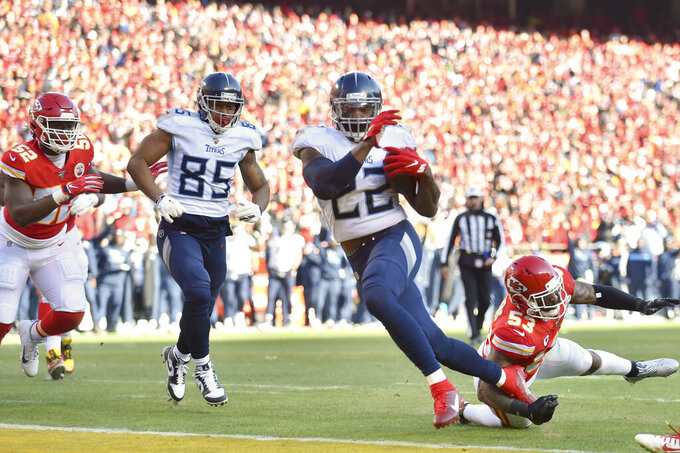 Tennessee Titans' Derrick Henry (22) runs for a touchdown during the first half of the NFL AFC Championship football game against the Kansas City Chiefs Sunday, Jan. 19, 2020, in Kansas City, MO. (AP Photo/Ed Zurga)