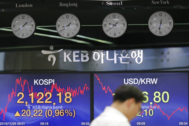 A currency trader stands near the screens showing the Korea Composite Stock Price Index (KOSPI), left, and the foreign exchange rate between U.S. dollar and South Korean won at the foreign exchange dealing room in Seoul, South Korea, Monday, Nov. 25, 2019. Asian shares were mostly higher Monday amid some optimism that the U.S. and China may edging closer to a trade deal. (AP Photo/Lee Jin-man)