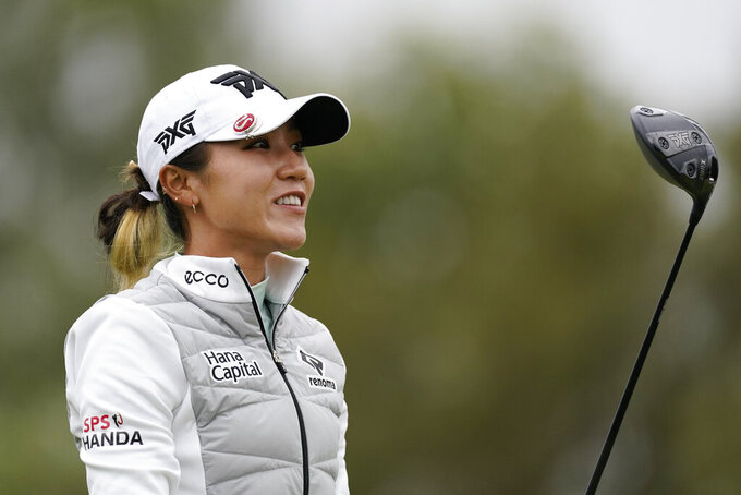 Lydia Ko watches her shot from the 11th tee during the second round of the LPGA's Hugel-Air Premia LA Open golf tournament at Wilshire Country Club Thursday, April 22, 2021, in Los Angeles. (AP Photo/Ashley Landis)