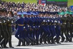 Belarusian soldiers of an honor guard perform during the Victory Day military parade that marked the 75th anniversary of the allied victory over Nazi Germany, in Minsk, Belarus, Saturday, May 9, 2020. Belarus remains one of the few countries that hadn't imposed a lockdown or restricted public events despite recommendations of the World Health Organization. (AP Photo/Sergei Grits)