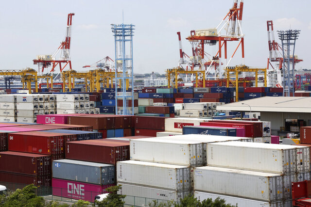 Containers are placed at a port in Yokohama, south of Tokyo, on June 17, 2020. Japan's trade surplus widened in August as the pandemic pummeled a wide array of industries and sapped consumer demand, according to preliminary data from the Finance Ministry released Wednesday, Sept. 16, 2020. (AP Photo/Koji Sasahara)
