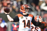 Cincinnati Bengals quarterback Andy Dalton throws during the first half of an NFL football game against the Cleveland Browns, Sunday, Dec. 8, 2019, in Cleveland. (AP Photo/David Richard)