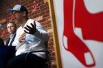 Boston Red Sox manger Alex Cora speaks during a news conference beside Assistant General Manager Brian O'Halloran, left, at Fenway Park in Boston, Monday, Sept. 30, 2019. (AP Photo/Michael Dwyer)