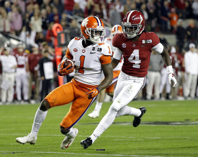 Clemson's Trayvon Mullen intercepts a pass during the first half the NCAA college football playoff championship game against Alabama, Monday, Jan. 7, 2019, in Santa Clara, Calif. (AP Photo/David J. Phillip)