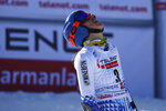 Slovakia's Petra Vlhova arrives at the finish area during an alpine ski, World Cup women's giant slalom in Sestriere, Italy, Saturday, Jan. 18, 2020. (AP Photo/Marco Trovati)