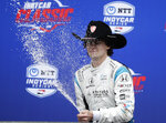 Colton Herta celebrates his win in the IndyCar Classic auto race, Sunday, March 24, 2019, in Austin, Texas. (AP Photo/Eric Gay)