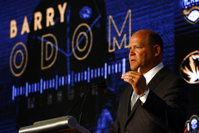 Missouri head coach Barry Odom speaks during the NCAA college football Southeastern Conference Media Days, Monday, July 15, 2019, in Hoover, Ala. (AP Photo/Butch Dill)