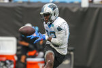 Carolina Panthers wide receiver David Moore catches the ball during Fan Fest at the NFL football team's training camp in Charlotte, N.C., Friday, Aug. 6, 2021. (AP Photo/Nell Redmond)