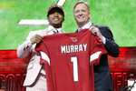 FILE - In this April 25, 2019, file photo, Oklahoma quarterback Kyler Murray poses with NFL Commissioner Roger Goodell after the Arizona Cardinals selected Murray No, 1 overall in the first round at the NFL football draft in Nashville, Tenn. The NFL draft starting on Thursday, April 23, 2020, is expected to be the most heavily wagered-on draft ever, mainly because virtually all major sporting events have been postponed due to the coronavirus outbreak. (AP Photo/Mark Humphrey, File)