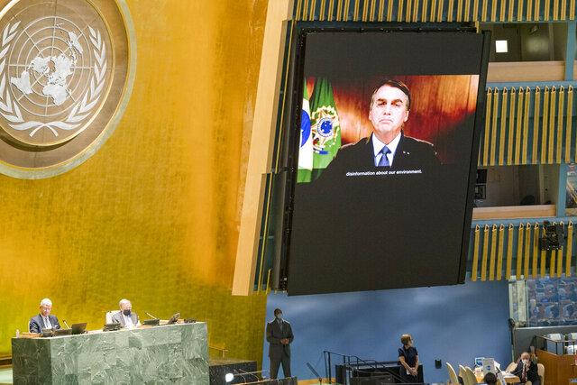 In this photo provided by the United Nations, Jair Bolsonaro, president of Brazil, speaks in a pre-recorded message played during the 75th session of the United Nations General Assembly, Tuesday, Sept. 22, 2020, at U.N. Headquarters in New York. The U.N.'s first virtual meeting of world leaders started Tuesday with pre-recorded speeches from some of the planet's biggest powers, kept at home by the coronavirus pandemic that will likely be a dominant theme at their video gathering this year. (Rick Bajornas/UN via AP)