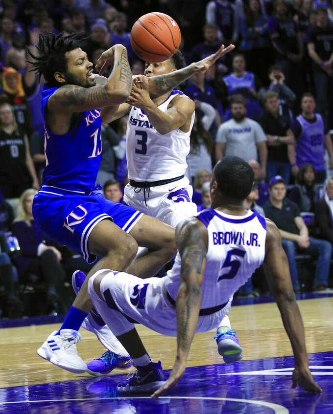 Brown, Sneed help Kansas State beat No. 13 Kansas, 74-67