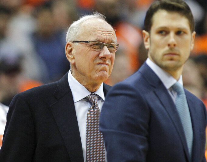 Syracuse coach Jim Boeheim waits for the team's NCAA college basketball game against Duke in Syracuse, N.Y., Saturday, Feb. 23, 2019. Three days after he accidentally hit and killed a pedestrian, Boeheim returned to the bench to loud applause prior to the Orange's game against top-ranked Duke. (AP Photo/Nick Lisi)