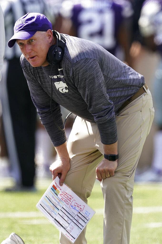 Kansas State head coach Chris Klieman watches during the first half of an NCAA college football game against Nevada Saturday, Sept. 18, 2021, in Manhattan, Kan. (AP Photo/Charlie Riedel)