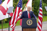 President Donald Trump speaks at the Jupiter Inlet Lighthouse and Museum, Tuesday, Sept.. 8, 2020, in Jupiter, Fla., on environmental policies. (AP Photo/John Raoux)