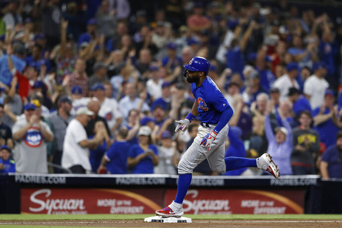 Chicago Cubs' Jason Heyward reacts after hitting a home run during the eighth inning of the team's baseball game against the San Diego Padres on Tuesday, Sept. 10, 2019, in San Diego. (AP Photo/Gregory Bull)