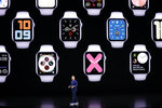 Stan Ng, Vice President Product Marketing, talks about the Apple Watch during an event to announce new products Tuesday, Sept. 10, 2019, in Cupertino, Calif. (AP Photo/Tony Avelar)