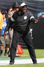 Bethune-ookman head coach Terry Sims reacts after a play during the first half of an NCAA college football game against Miami, Saturday, Sept. 14, 2019, in Miami Gardens, Fla. (AP Photo/Wilfredo Lee)
