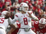 Rutgers's Artur Sitkowski throws during the first half of an NCAA college football game against WisconsinSaturday, Nov. 3, 2018, in Madison, Wis. (AP Photo/Morry Gash)