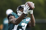 Philadelphia Eagles wide receiver Nelson Agholor catches a pass at the NFL football team's practice facility in Philadelphia, Wednesday, Sept. 4, 2019. (AP Photo/Matt Rourke)
