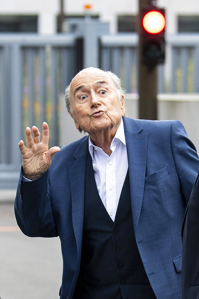 Former FIFA President Sepp Blatter appears in front of the building of the Office of the Attorney General of Switzerland, on Tuesday, Sept.1, 2020, in Bern, Switzerland. Sepp Blatter and former UEFA president Michel Platini each face interrogation from the Swiss public prosecutor as part of the proceedings opened in 2015 over a payment of 2 million Swiss francs. (Peter Schneider/Keystone via AP)