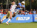 San Francisco 49ers free safety Jimmie Ward defends against Los Angeles Chargers wide receiver Jason Moore Jr. during NFL football practice in Costa Mesa, Calif., Thursday, Aug. 19, 2021. (AP Photo/Damian Dovarganes)