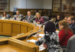 In this photo taken Wednesday, Feb. 20, 2019, a committee of the Oregon House of Representatives debates a bill in Salem, Ore., that would make Oregon the first state to impose mandatory rent controls statewide. The committee on Wednesday rejected proposed amendments that would make certain parts of the state exempt from the bill. The bill sailed through the Senate and Gov. Kate Brown expects the pioneering legislation to reach her desk for her to sign. (AP Photo/Andrew Selsky)
