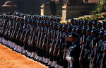 Indian military soldiers present a guard of honor for Brazilian president Jair Bolsonaro during his ceremonial reception in New Delhi, India, Saturday, Jan. 25, 2020. Bolsonaro is this year's chief guest for India's Republic day parade. (AP Photo/Manish Swarup)