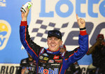 John Hunter Nemechek celebrates his win in the NASCAR Trucks auto race Friday, May 28, 2021, at Charlotte Motor Speedway in Concord, N.C. (Jeff Siner/The Charlotte Observer via AP)