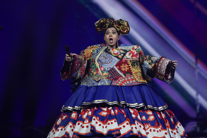 Manizha from Russia performs at the first semi-final of the Eurovision Song Contest at Ahoy arena in Rotterdam, Netherlands, Tuesday, May 18, 2021. (AP Photo/Peter Dejong)