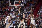 Miami Heat guard Goran Dragic (7) shoots during the first half of an NBA basketball game against the Sacramento Kings, Monday, Jan. 20, 2020, in Miami. (AP Photo/Lynne Sladky)