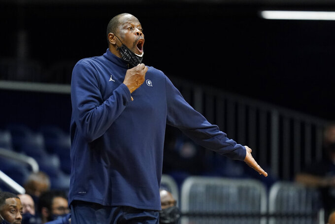 Georgetown head coach Patrick Ewing shouts during the second half of an NCAA college basketball game against Butler, Wednesday, Jan. 6, 2021, in Indianapolis. Butler won 63-55. (AP Photo/Darron Cummings)