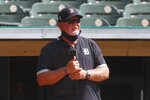 Detroit Tigers manager Ron Gardenhire watches during an intrasquad baseball game in Detroit, Monday, July 13, 2020. (AP Photo/Paul Sancya)