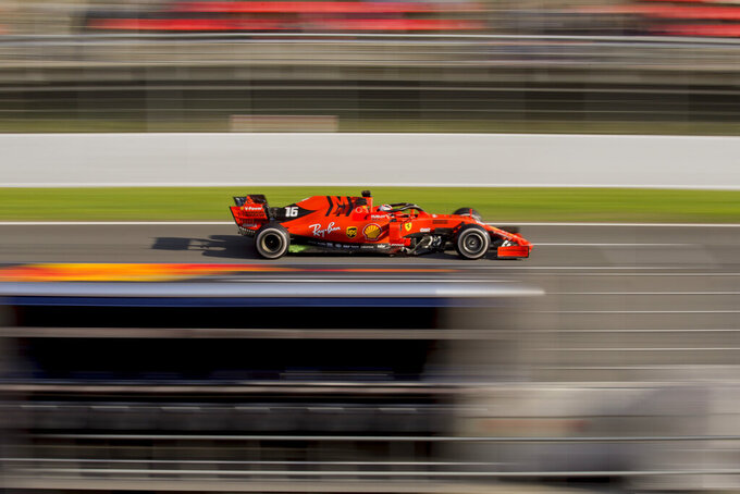Ferrari driver Charles Leclerc of Monaco drives during a Formula One pre-season testing session at the Barcelona Catalunya racetrack in Montmelo, outside Barcelona, Spain, Thursday, Feb. 28, 2019. (AP Photo/Joan Monfort)