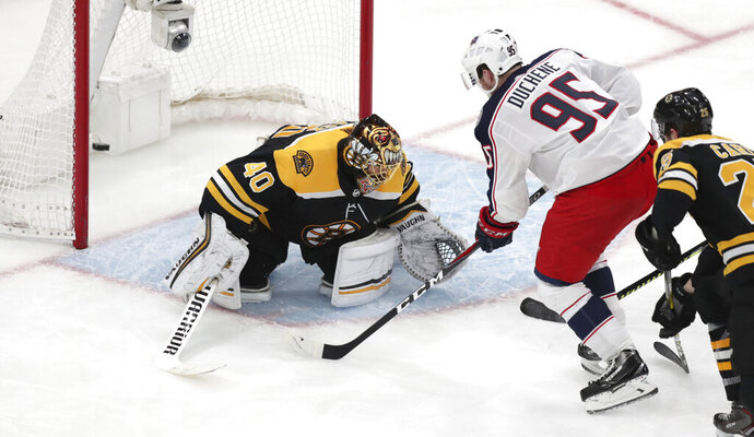 Columbus Blue Jackets center Matt Duchene (95) shoots the game-wining goal past Boston Bruins goaltender Tuukka Rask (40) during double overtime of Game 2 of an NHL hockey second-round playoff series, early Sunday, April 28, 2019, in Boston. The Blue Jackets won 3-2. (AP Photo/Charles Krupa)