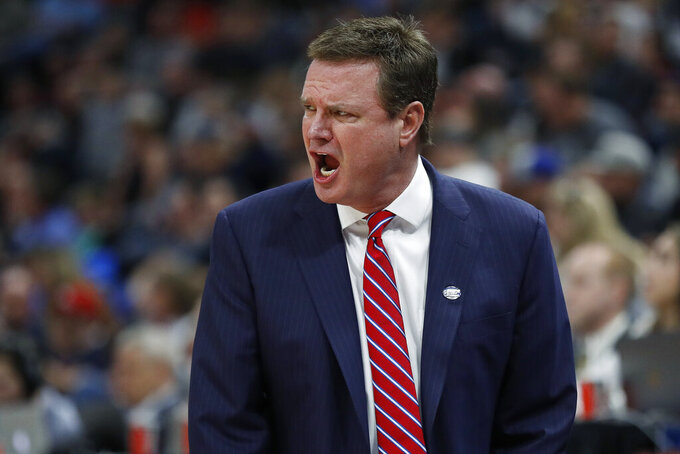 Kansas coach Bill Self reacts during the first half of the team's second-round game against Auburn in the NCAA men's college basketball tournament Saturday, March 23, 2019, in Salt Lake City. (AP Photo/Jeff Swinger)