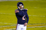 Chicago Bears kicker Cairo Santos (2) celebrates a field goal to tie the game in the closing seconds of the second half of an NFL football game against the New Orleans Saints in Chicago, Sunday, Nov. 1, 2020. (AP Photo/Nam Y. Huh)
