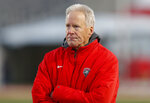 New Mexico coach Bob Davie watches from the sideline during the second half of an NCAA college football game against Utah State on Saturday, Nov. 30, 2019 in Albuquerque, N.M. Davie coached his final game for the Lobos as he and the University of New Mexico mutually agreed to part ways. (AP Photo/Andres Leighton)