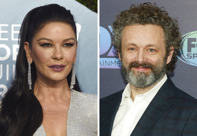 """This combination photo shows Catherine Zeta-Jones, left, at the 26th annual Screen Actors Guild Awards on Jan. 19, 2020, in Los Angeles and Michael Sheen at the FOX Upfront party on May 13, 2019, in New York. The Welsh actors join """"Prodigal Son"""" in the Tuesday, March 2, 20201, episode with Zeta-Jones playing a doctor and Sheen playing an incarcerated serial killer surgeon. (AP Photo)"""