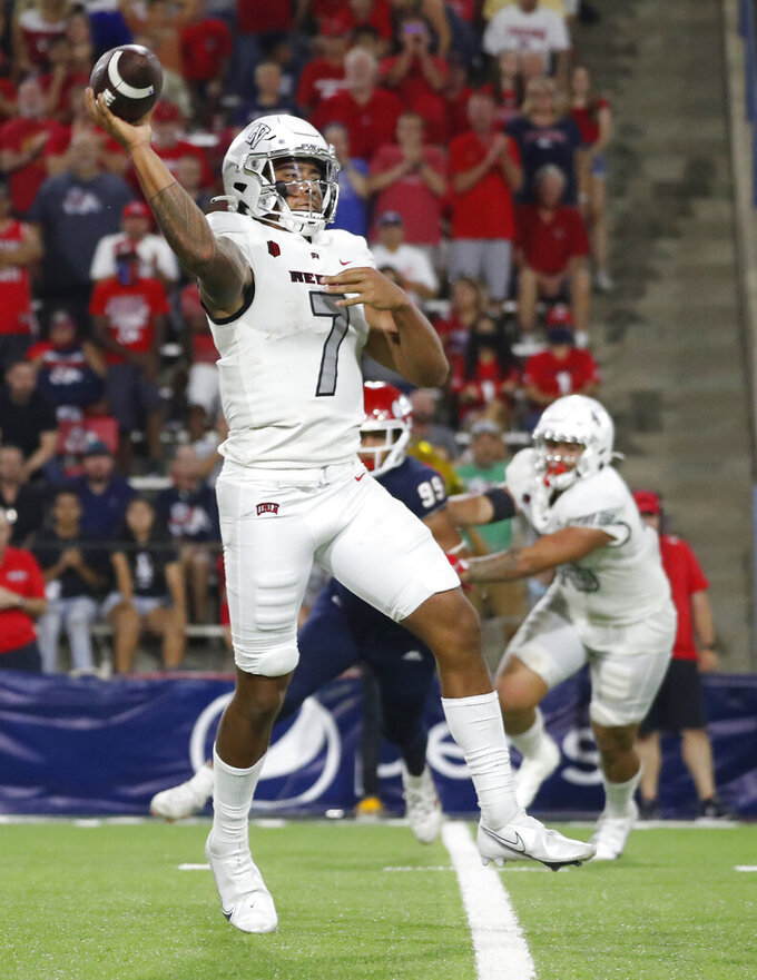UNLV quarterback Cameron Friel passes downfield during the second half of an NCAA college football game in Fresno, Calif., Friday, Sept. 24, 2021. (AP Photo/Gary Kazanjian)