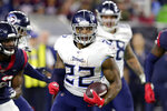 FILE - In this Dec. 29, 2019, file photo, Tennessee Titans running back Derrick Henry (22) breaks away for a 53-yard touchdown run during the second half of an NFL football game, in Houston. The top-seeded Baltimore Ravens (14-2) bring a 12-game winning streak and the most productive offense in the NFL into Saturday's AFC playoff game against the Titans (10-7), who advanced by beating New England 20-13 last week. (AP Photo/Michael Wyke, File)