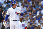 Chicago Cubs' Anthony Rizzo throws his bat after being hit by a pitch for the second time in a baseball game by Seattle Mariners' Justus Sheffield during the fifth inning Monday, Sept. 2, 2019, in Chicago. (AP Photo/Jim Young)